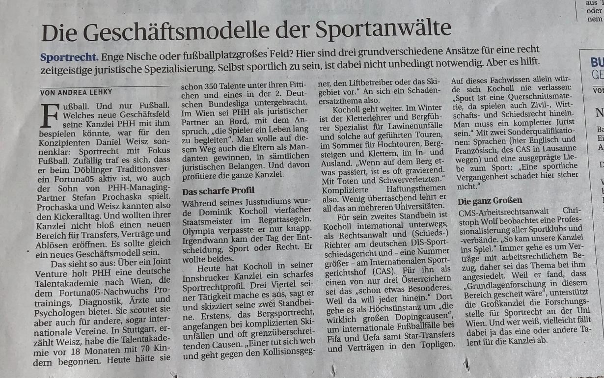 Dr. Dominik Kocholl in DiePresse Die Geschäftsmodelle der Sportanwälte