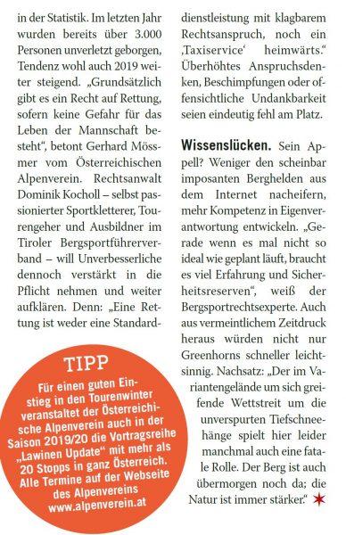 Auszug aus Beitrag im Weekend-Magazin