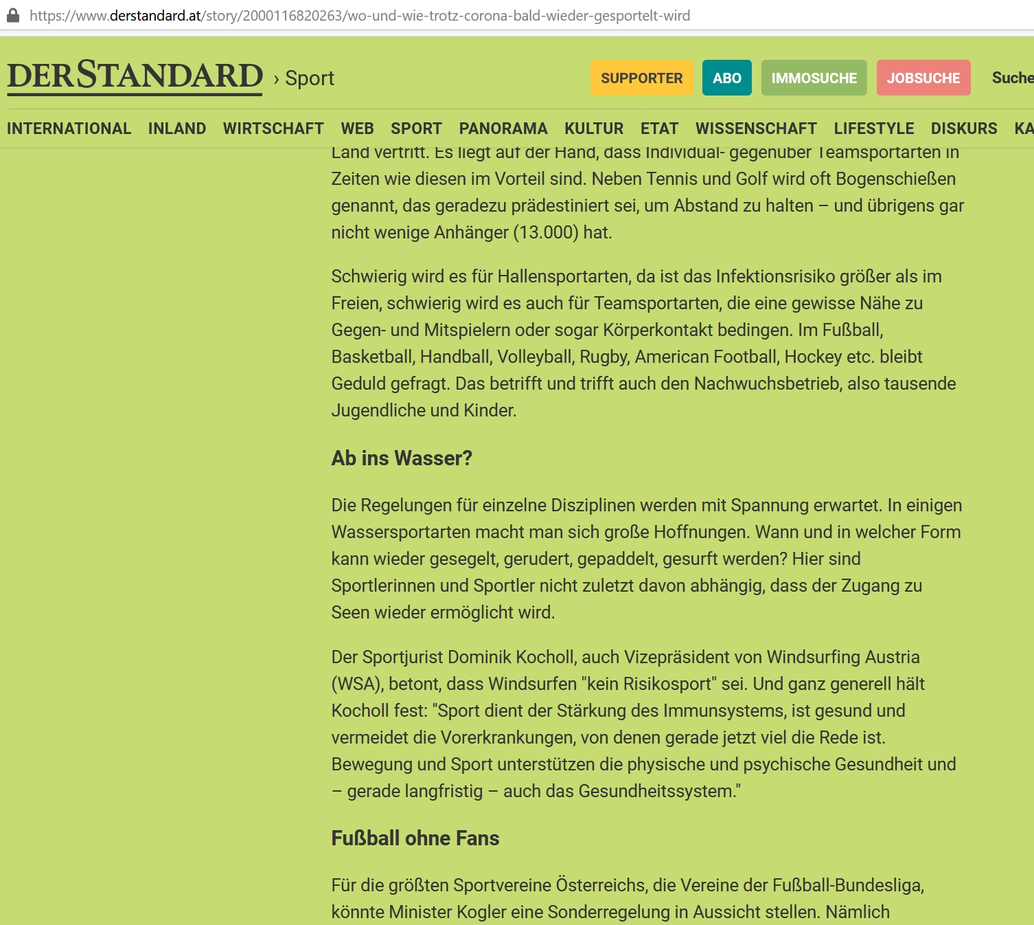 Zeitungsartikel DerStandard - Wo und wie trotz Corona bald wieder gesportelt wird